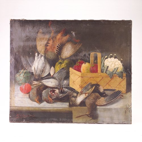 12: Still life with fowl and vegetable basket, oil on c