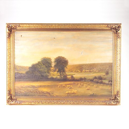 15: American 20th c. landscape. Unsigned. Tears to canv