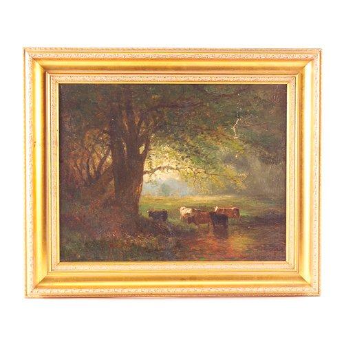 19: Arthur Parton (N.A. American, 1842-1914) Cows at Wa