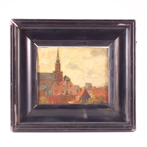23: Flemish School, 1908, roof top cityscape, oil on bo