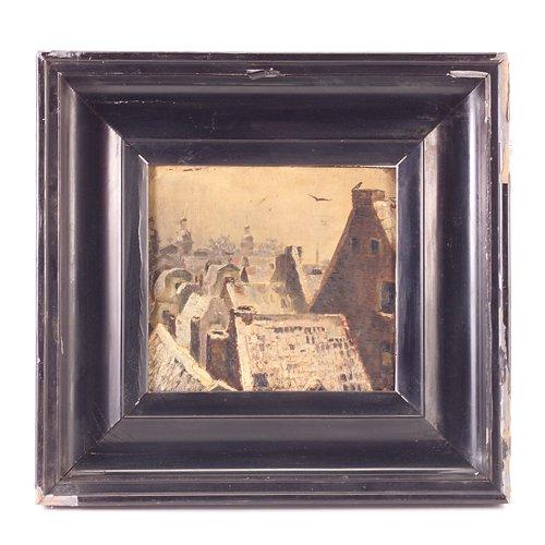 24: Flemish School, 1908, roof top cityscape, oil on bo