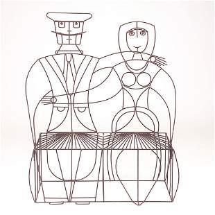 "John Risley black wire couple settee, 1950s, 53"" x"