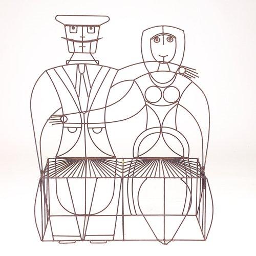 "351: John Risley black wire couple settee, 1950s, 53"" x"