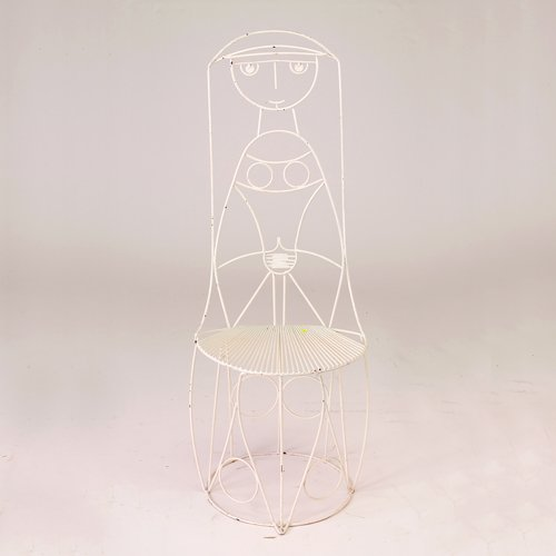 """354: John Risley white wire """"Queen"""" side chair, 1950s,"""