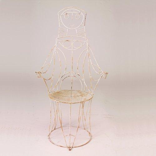 "355: John Risley white wire ""Queen"" arm chair, 1950s, 4"