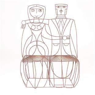John Risley black wire couple settee, 1950s, varia