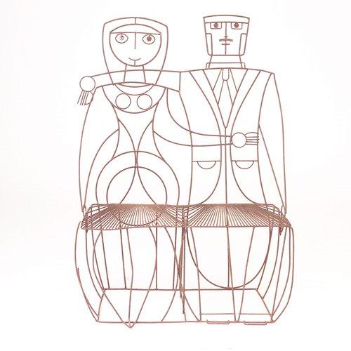 356: John Risley black wire couple settee, 1950s, varia