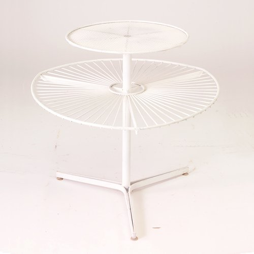 357: Two-tiered table, 1950s, white wire an