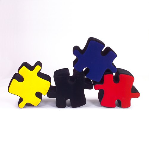 363: Italian four piece multi-colored velvet puzzle sea
