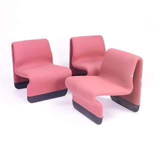 Jan Exselius three pink free-form chairs with viny
