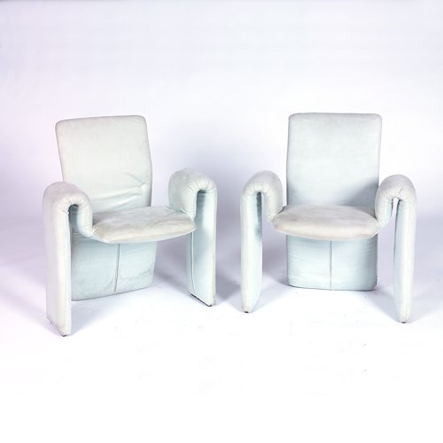 369: Three foam archairs (two shown) fully-upholstered