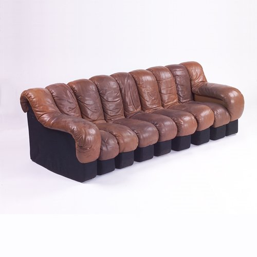 372: Stendig Nonstop sofa of chocolate brown leather, l
