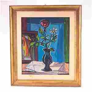 417: Antonio Corpora (1909-2004), Red Rose In Vase, oil