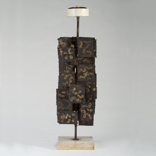 815: Welded metal grid-form table lamp base in the styl