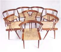 5: GEORGE NAKASHIMA Eight Grass Seat chairs, each with