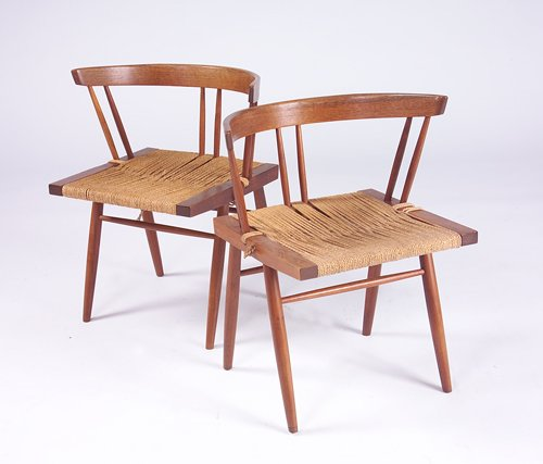 6: GEORGE NAKASHIMA Two Grass Seat chairs, each with th