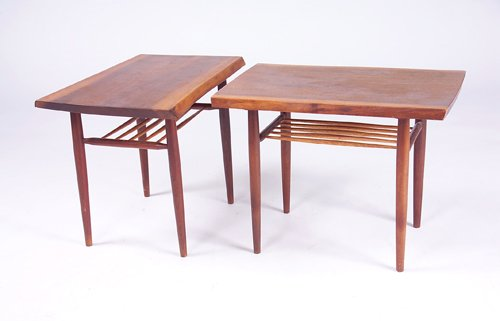 9: GEORGE NAKASHIMA Pair of walnut end tables, each wit
