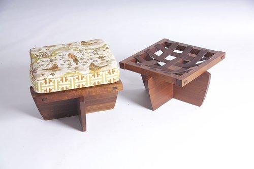 11: GEORGE NAKASHIMA Pair of Greenrock stools with fabr