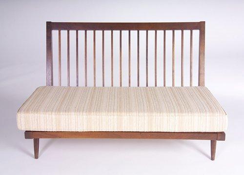 16: GEORGE NAKASHIMA Armless settee with slatted back a