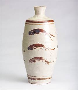 134: BERNARD LEACH Exceptional stoneware bottle painted