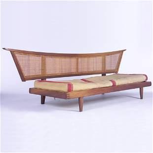 GEORGE NAKASHIMA/WIDDICOMB Sofa with caned, pagoda