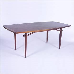 GEORGE NAKASHIMA/WIDDICOMB Dining table with boat-