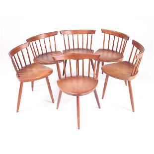 """GEORGE NAKASHIMA Six """"Mira"""" chairs, c. 1967/68, wi"""