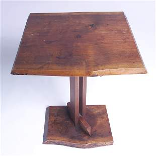 JAMES MARTIN Walnut pedestal side table with free-