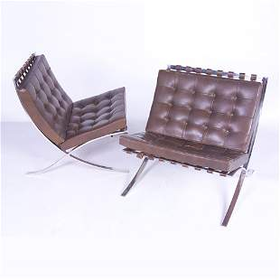 """MIES VAN DER ROHE/KNOLL Pair of """"Barcelona"""" chairs"""