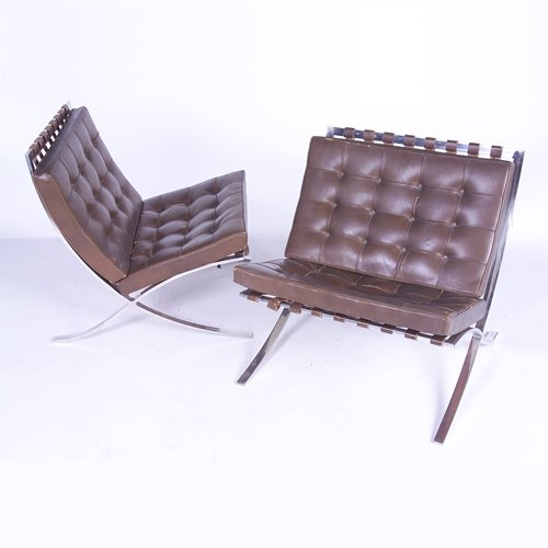 "812: MIES VAN DER ROHE/KNOLL Pair of ""Barcelona"" chairs"
