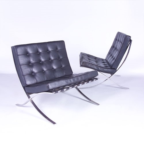 "813: MIES VAN DER ROHE/KNOLL Pair of ""Barcelona"" chairs"