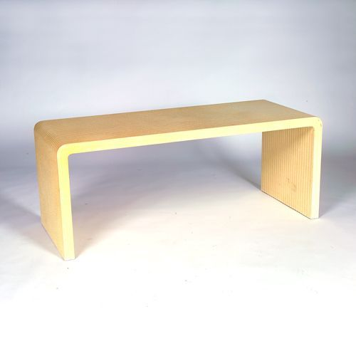 """KARL SPRINGER """"Waterfall"""" table covered in ivory-"""