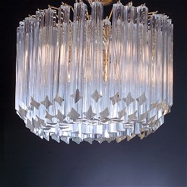 1061: VENINI Chandelier, c. 1960s, with clear glass bar