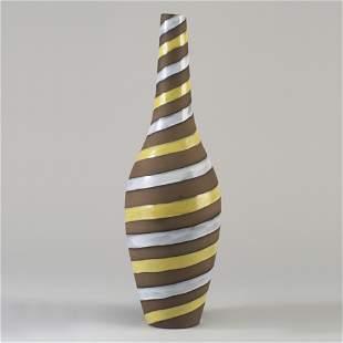 UPSALA EKEBY Large bottle-shaped vase with yellow