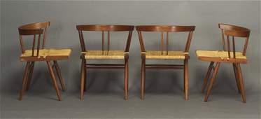 9: Four GEORGE NAKASHIMA walnut grass-seat ch