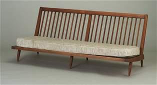 101: GEORGE NAKASHIMA walnut three-seat armle