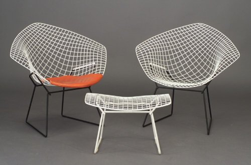 520: Three HARRY BERTOIA for KNOLL white wire
