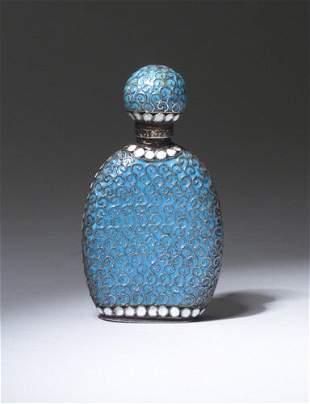 Russian scent bottle, circa 1900, in silve