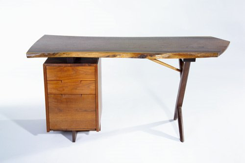6: GEORGE NAKASHIMA Walnut Conoid desk with raised free