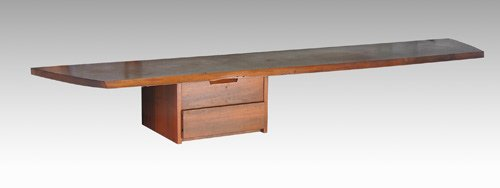 7: GEORGE NAKASHIMA Walnut hanging wall shelf with free