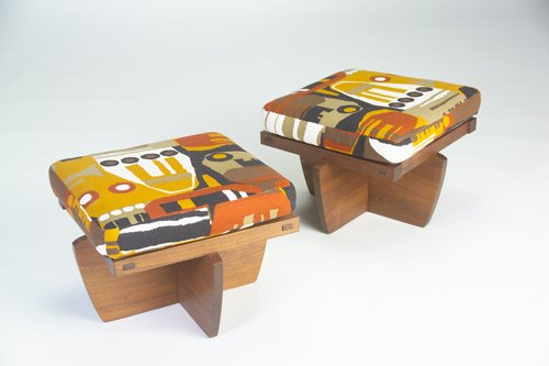 8: GEORGE NAKASHIMA Pair of walnut Greenrock ottomans,