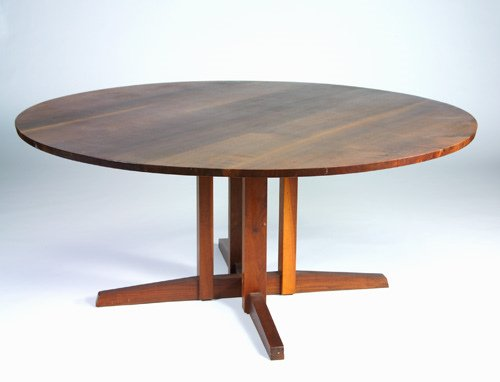 10: GEORGE NAKASHIMA Walnut Cluster-base dining table,