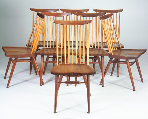 "11: GEORGE NAKASHIMA Set of eight walnut ""New"" chairs,"