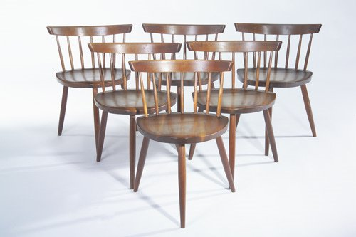 16: GEORGE NAKASHIMA Set of six walnut Mira chairs with