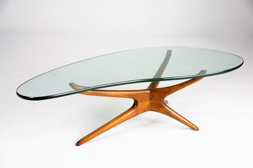 23: VLADIMIR KAGAN Tri-Symmetric coffee table with amoe