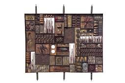 36 PAUL EVANS SculptureFront room divider of steel wi