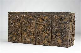 PAUL EVANS Sculpted Bronze wall-hanging cabinet, 19