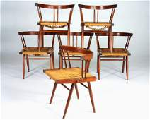 460: GEORGE NAKASHIMA Set of six walnut Grass Seat chai