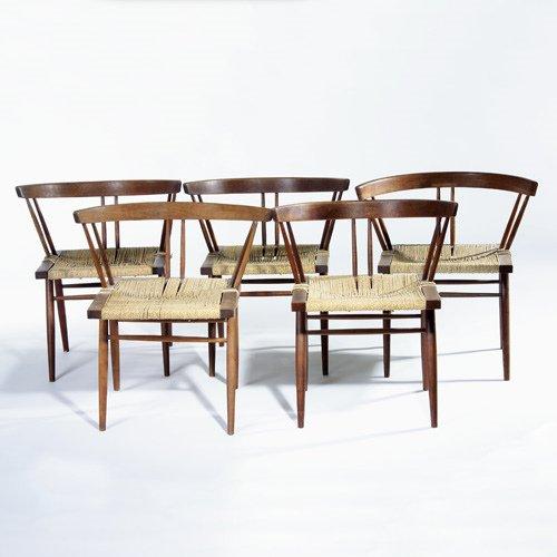 999: GEORGE NAKASHIMA Set of five walnut Grass Seat cha