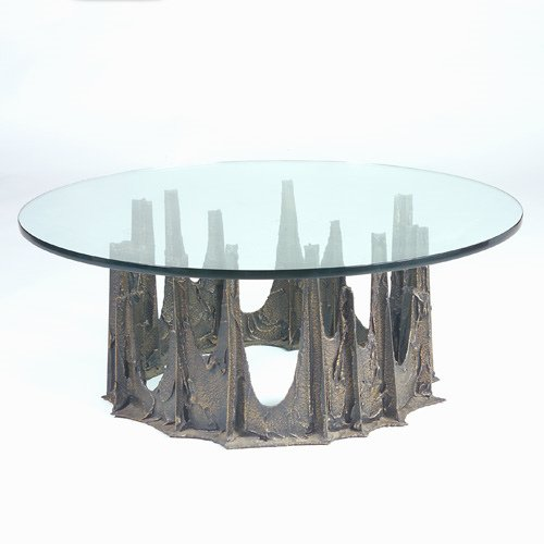 1000: PAUL EVANS Sculpted Bronze coffee table with circ
